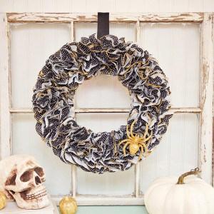 Spooky cupcake liner Halloween wreath