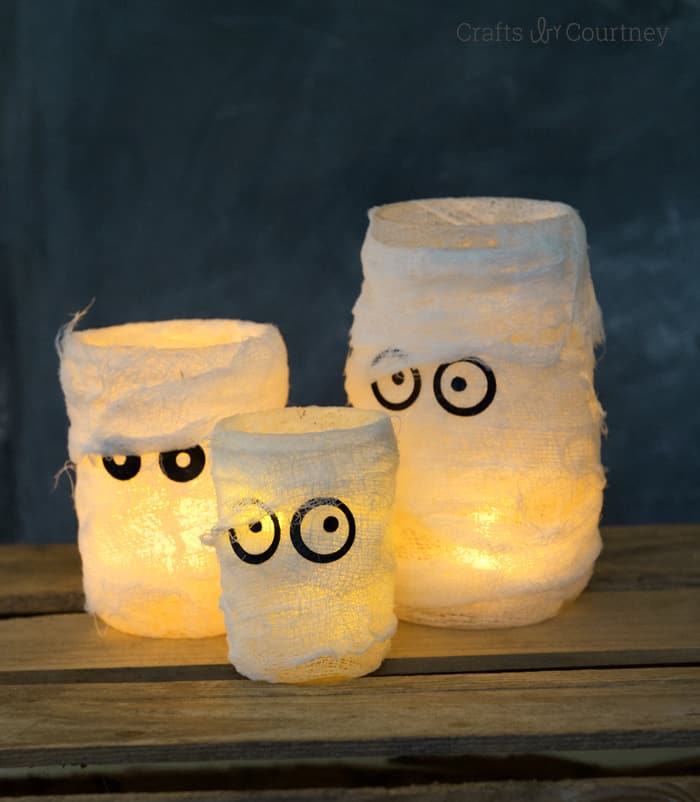 You can make these mummy Halloween luminaries for a fraction of what they cost in a popular catalog . . . and they look just as good!