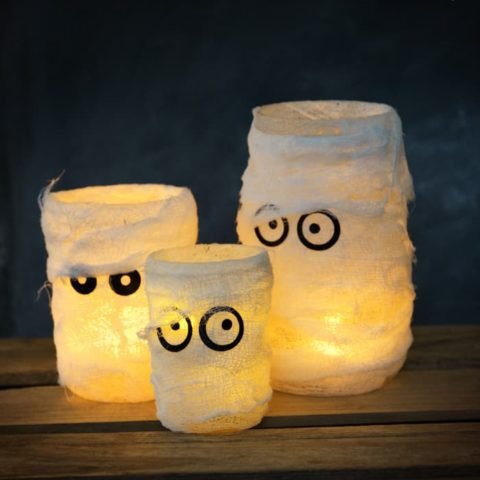 Make Mummy Halloween Luminaries in Three Easy Steps!