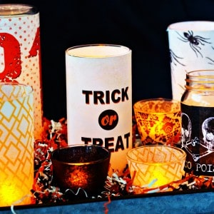 Last minute DIY Halloween candle centerp...