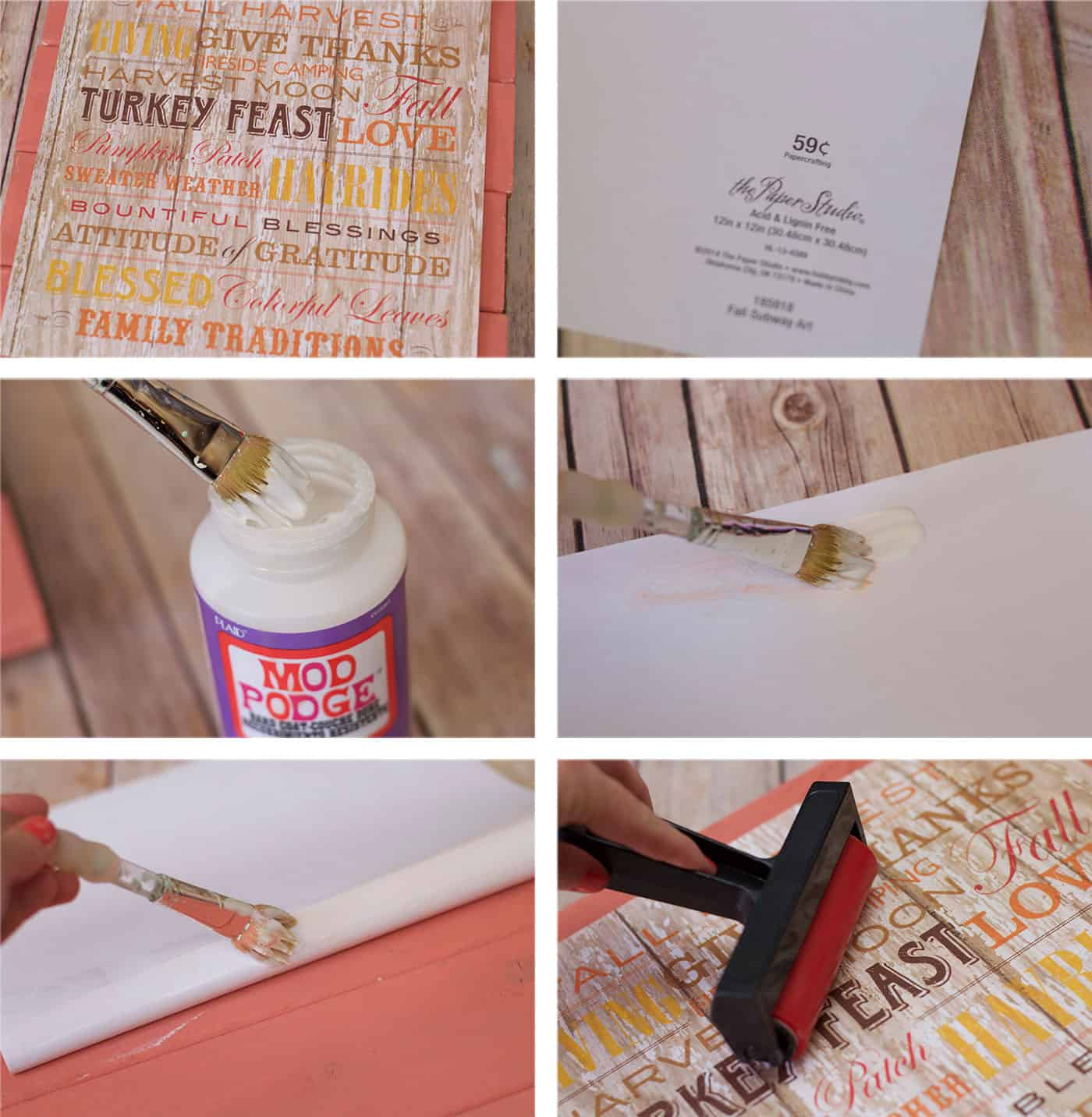 Add Mod Podge to a piece of scrapbook paper and smooth