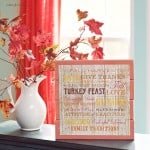 This pretty fall sign was made with a piece of scrapbook paper (under $1!), scrap wood, and Mod Podge. It's the perfect seasonal decor piece!
