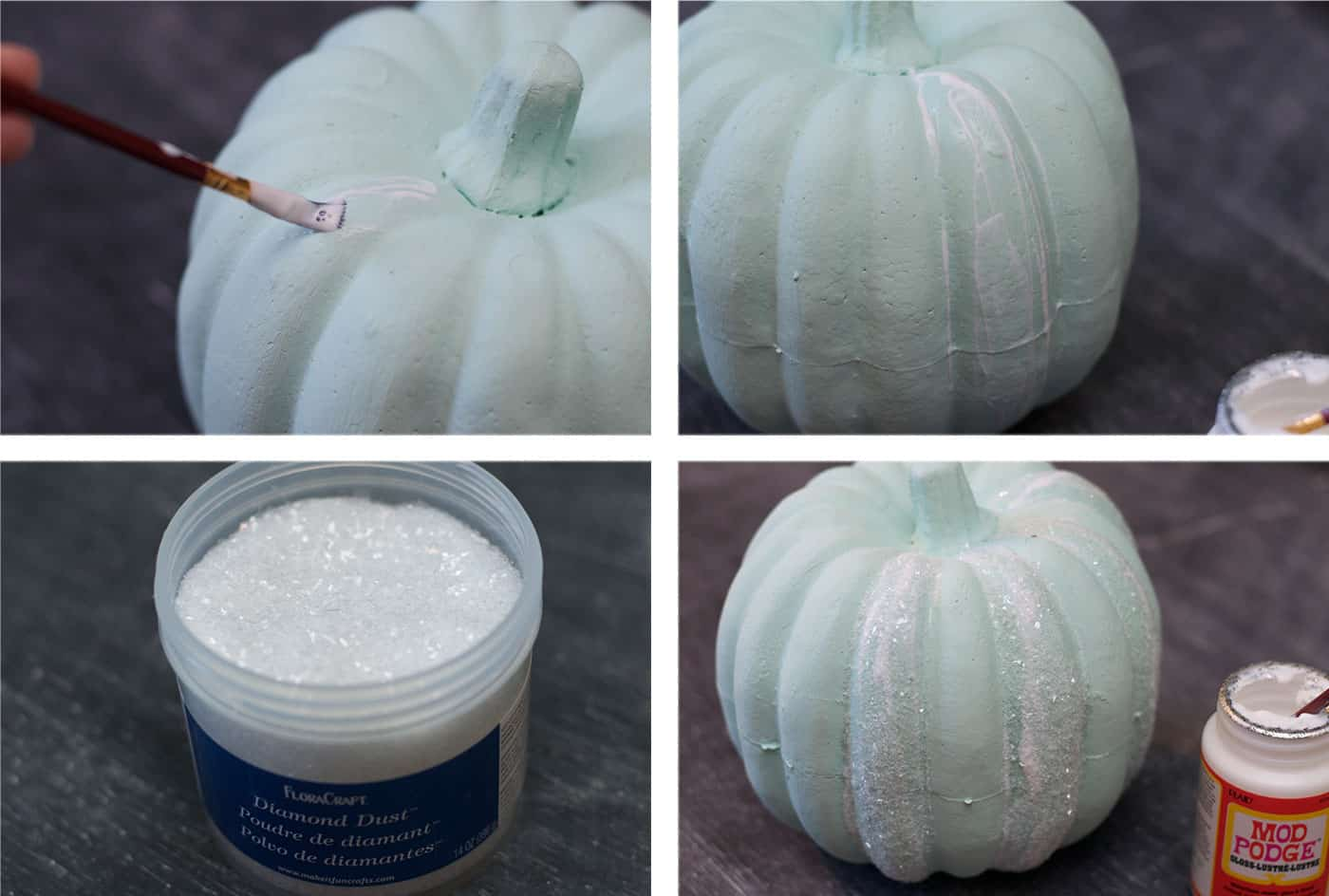 Paint a foam pumpkin with Mod Podge and add Diamond Dust