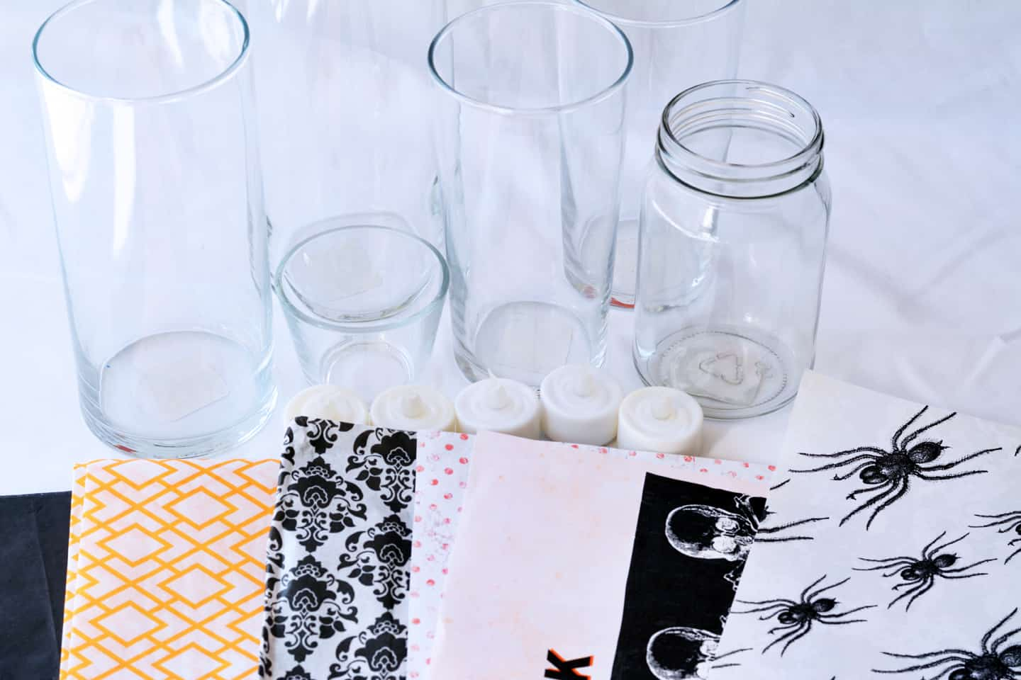 Supplies for Easy Quick DIY Halloween Candle Holders