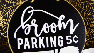 Easy Broom Parking Halloween Sign