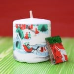 DIY vintage wrapping paper holiday candles