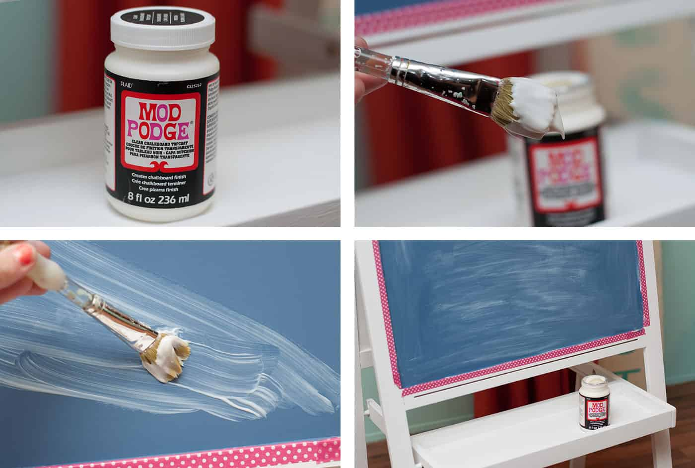 This IKEA easel was trashed by my 3-year-old, so I gave it a complete makeover with Mod Podge clear chalkboard topcoat. You'll love how easy this is!