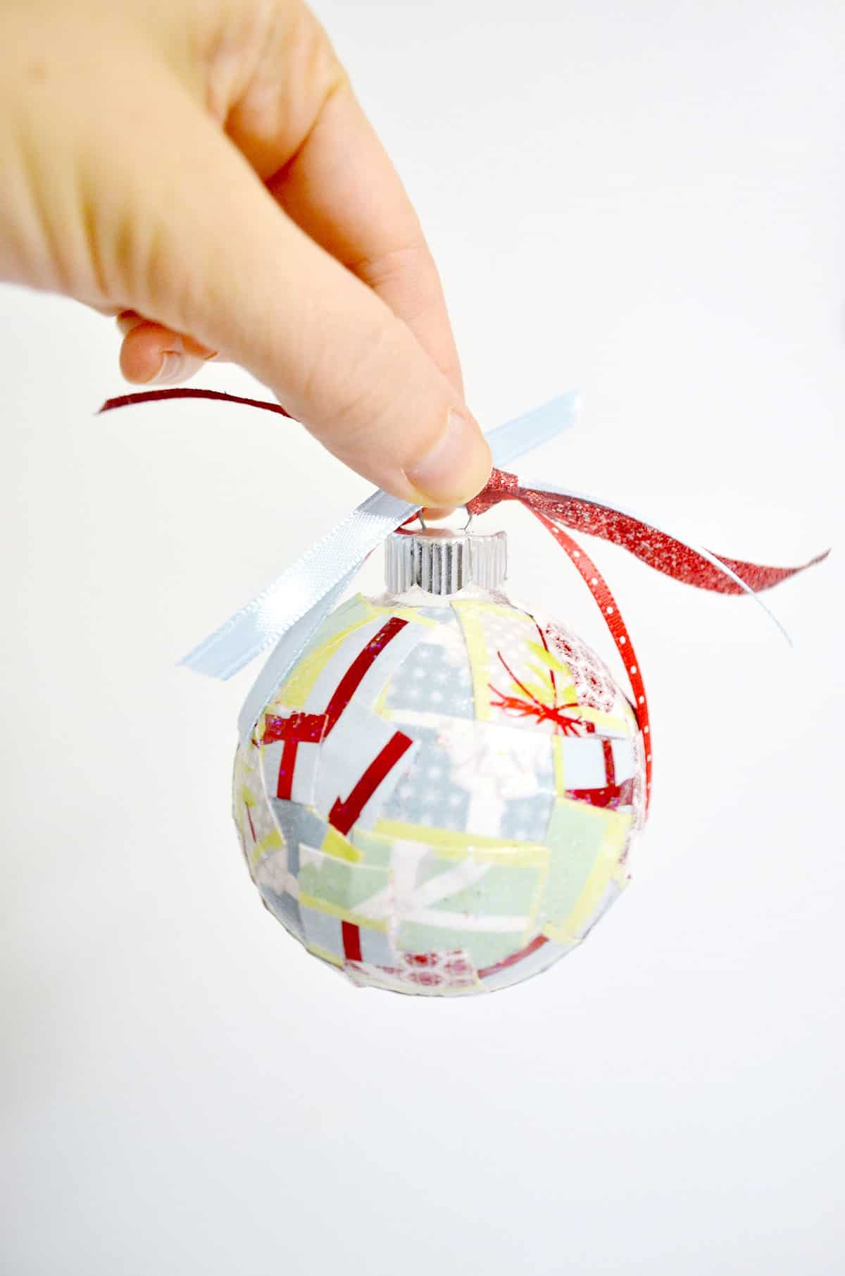 Paper christmas ornaments made with Mod Podge