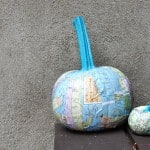 DIY pumpkins with maps and Mod Podge