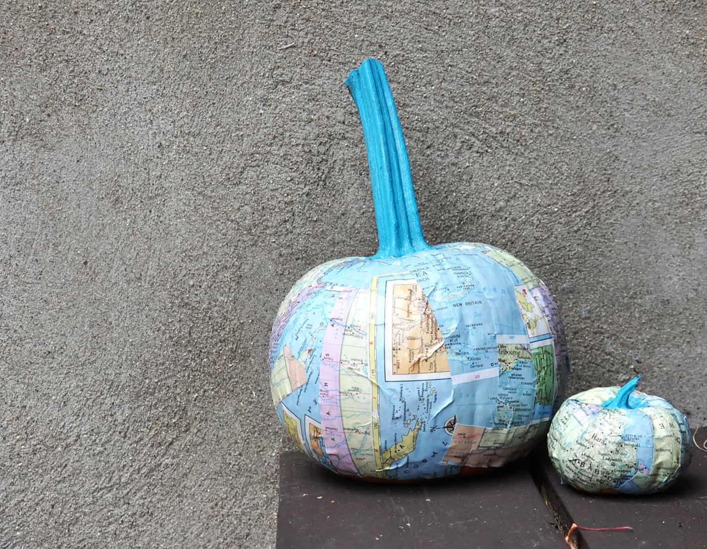 DIY pumpkins with maps and Mod Podge