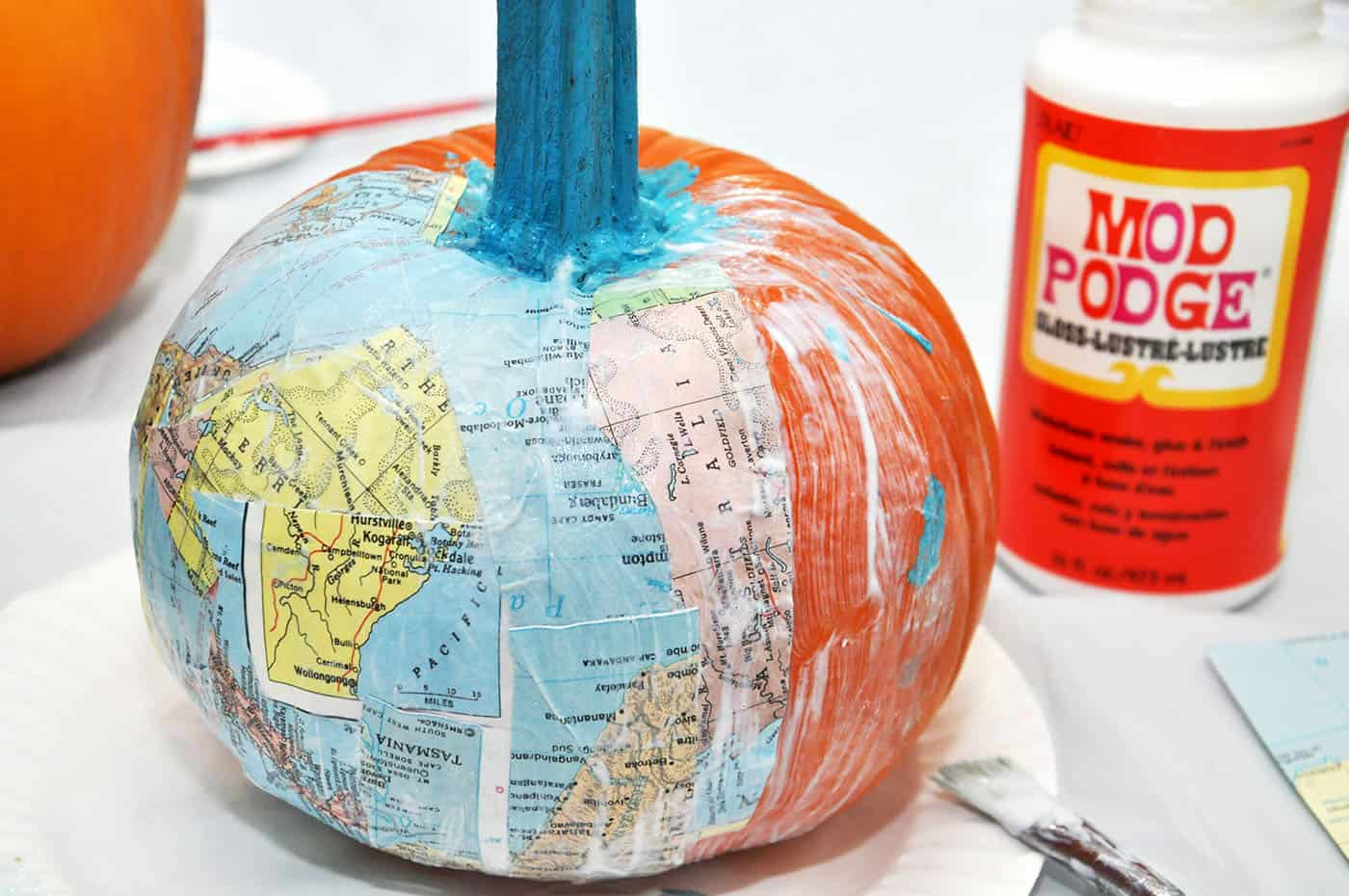 How to Mod Podge a pumpkin
