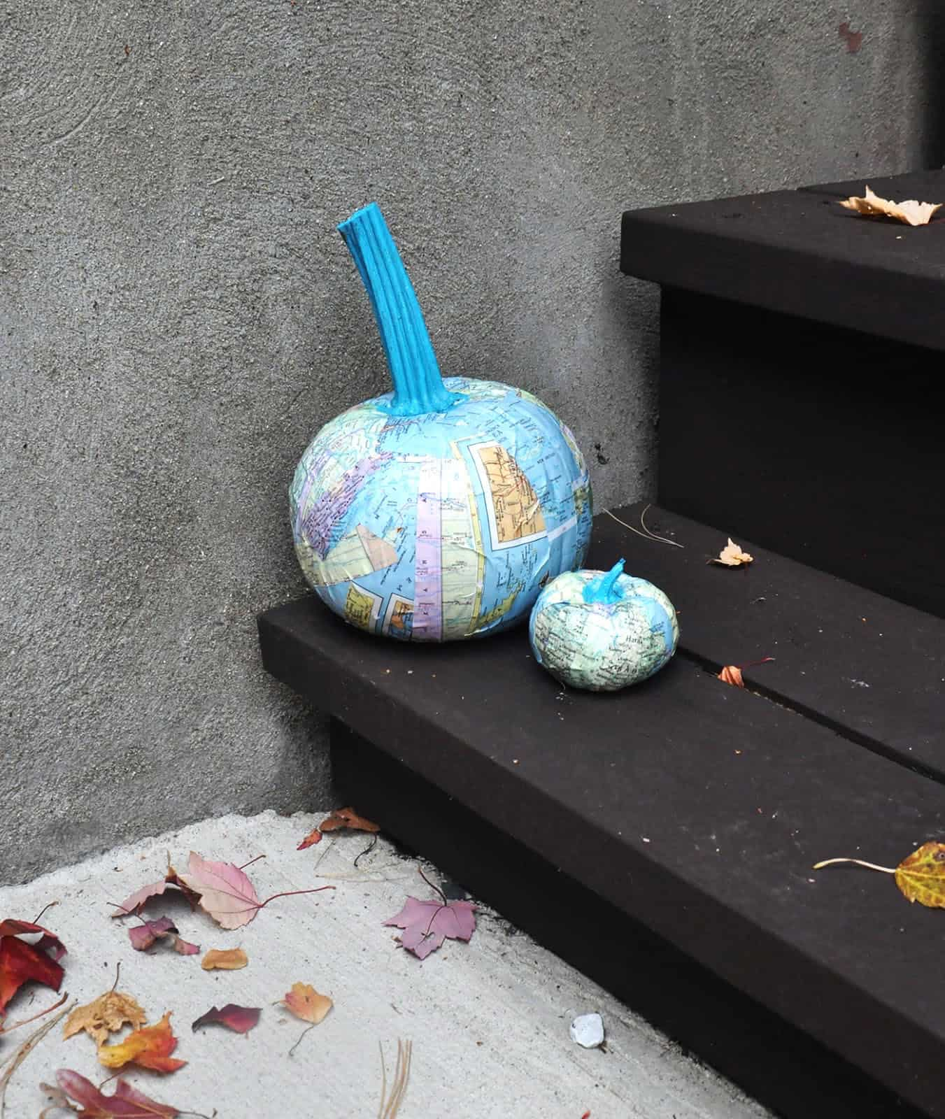How to make Mod Podge pumpkins with maps