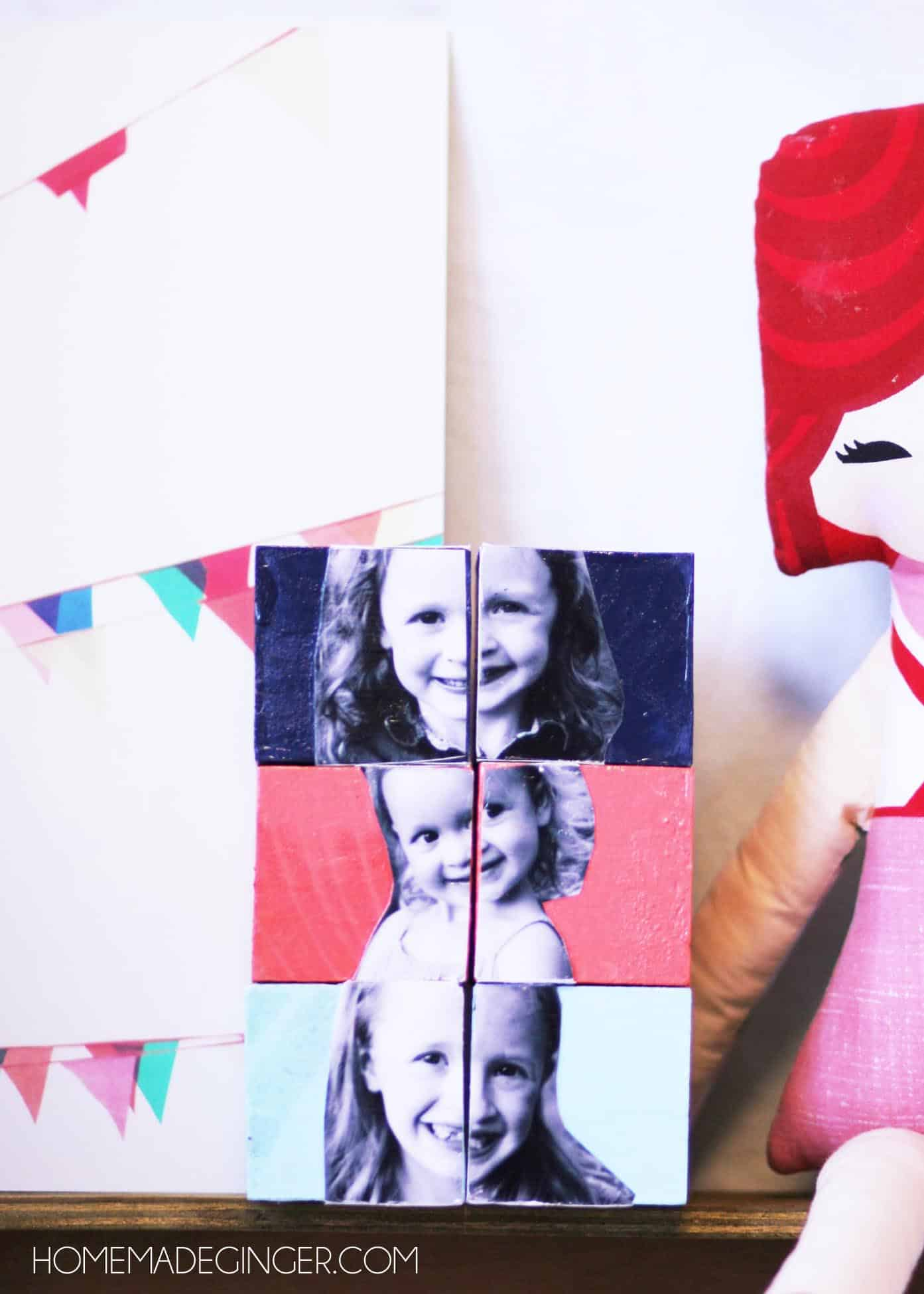 Paint these DIY photo blocks any color to fit in with your child's room or nursery and display on a shelf! They also make great personalized gifts.