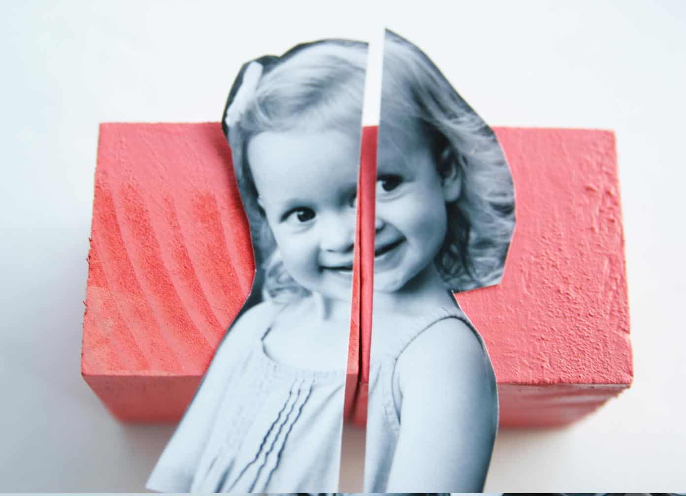Make a modern twist on some photo blocks by using black and white pictures. Your child will love playing with them!