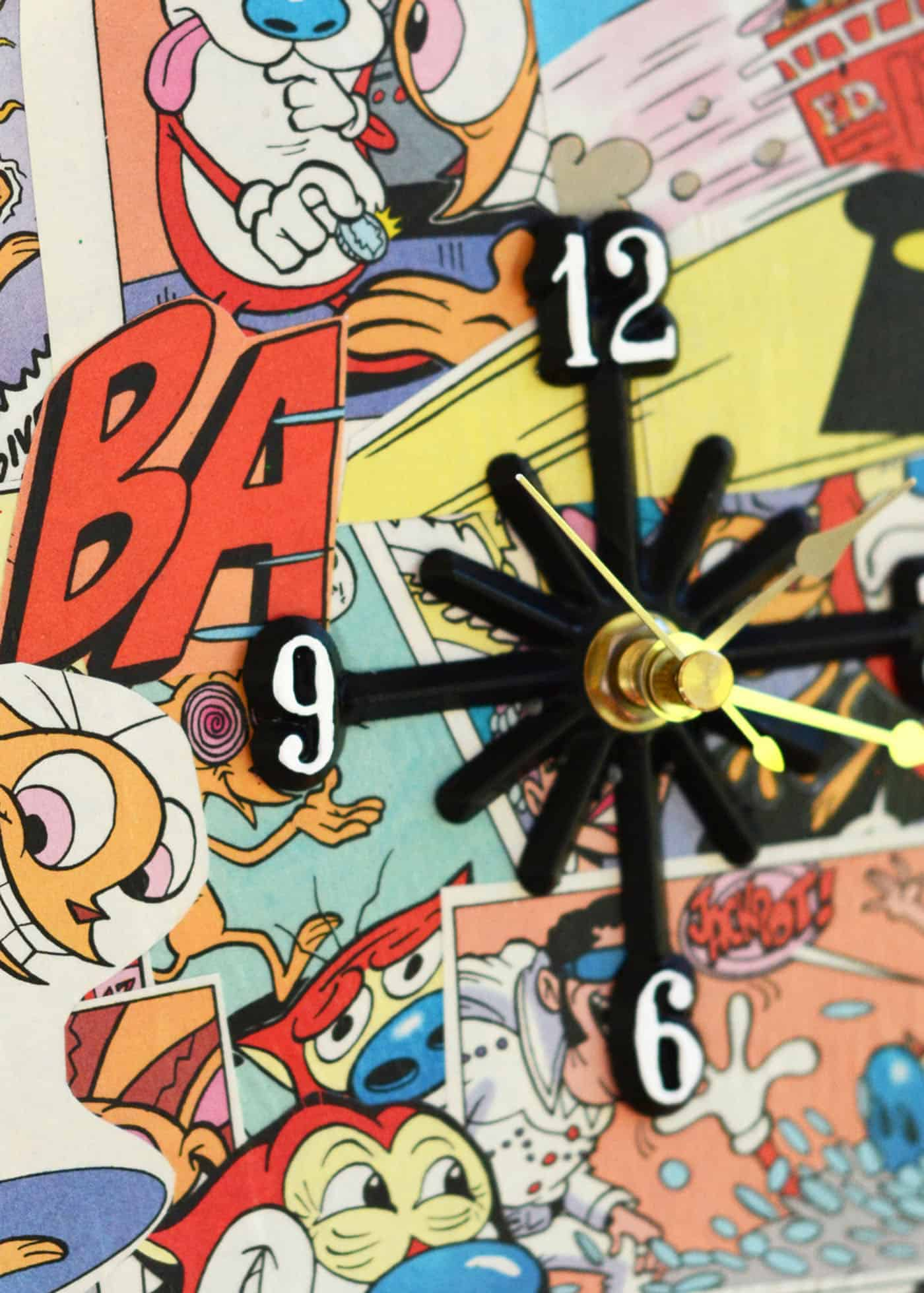 This DIY clock is the perfect gift idea for someone who loves comic books. And you won't believe what it's made out of . . . a charger!
