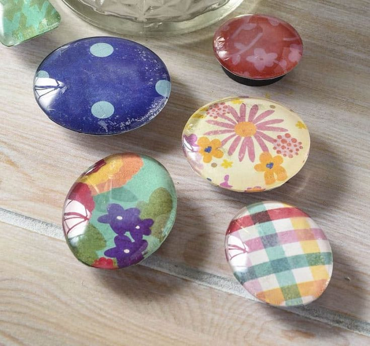 Closeup of handmade fridge magnets