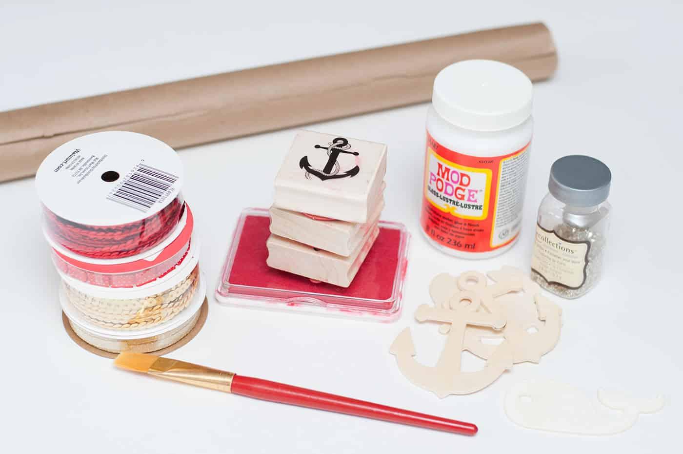 Supplies to make DIY gift wrap