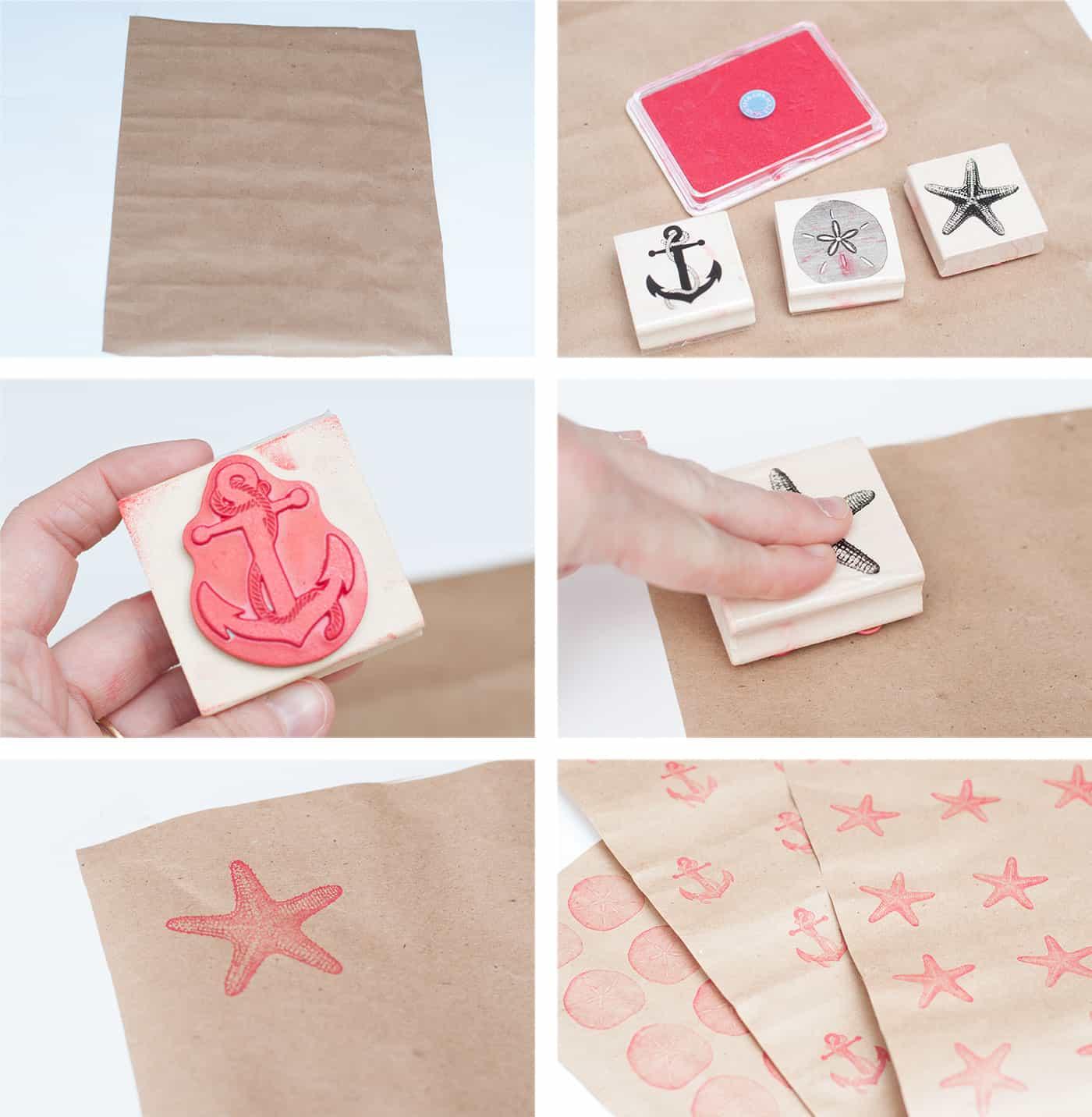 Stamping on Christmas gift wrap