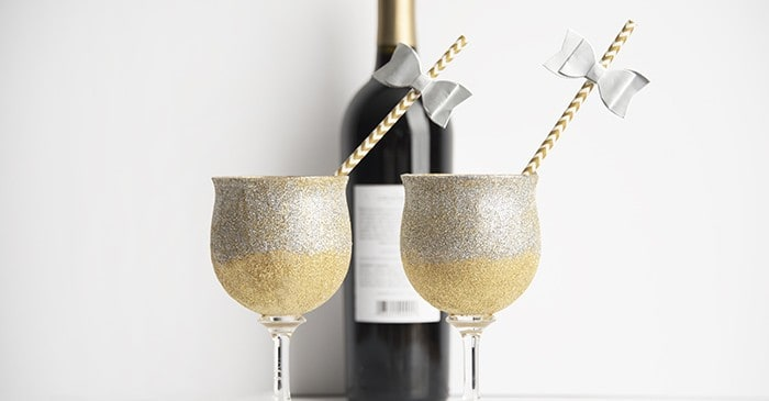 New Year's Eve decoupage glitter glasses