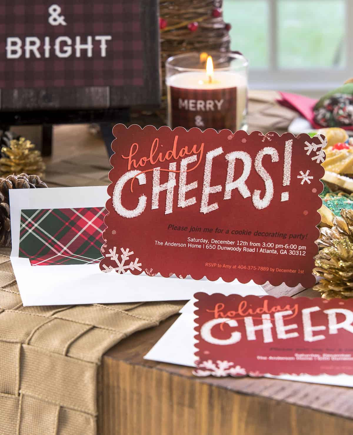 Use my free printable, Mod Podge photo transfer medium, and personalized Shutterfly printed items to have the best plaid themed cookie exchange ever!