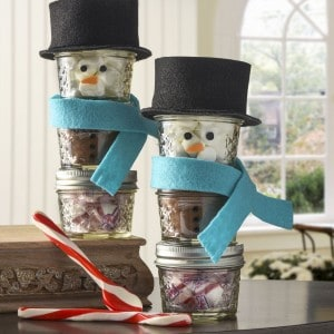 Stacked snowman hot cocoa mason jar gift...