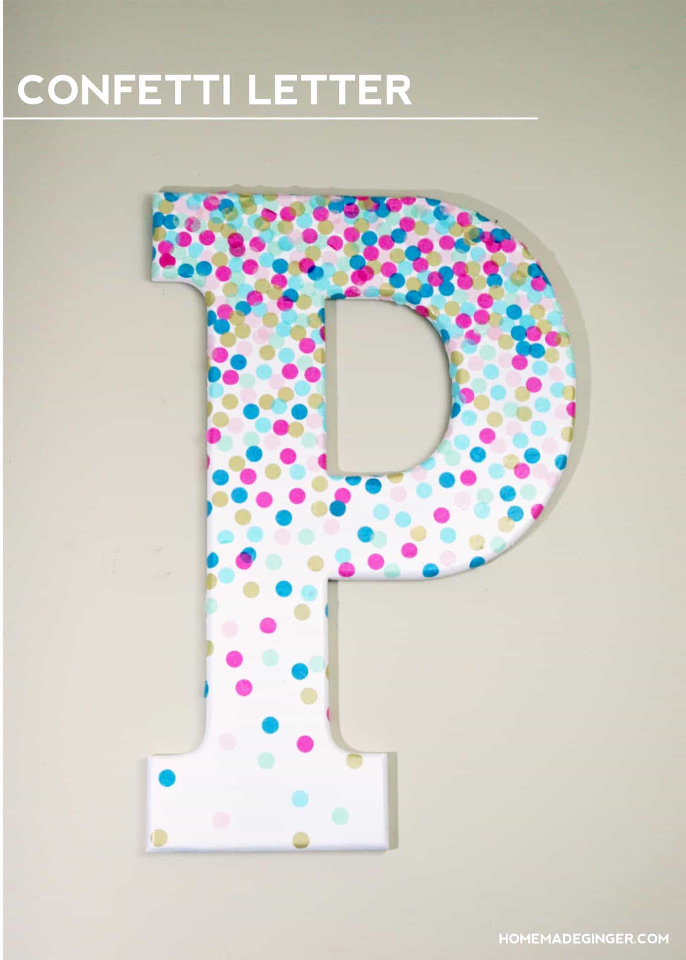 Confetti decorative letters for wall decor mod podge rocks for Letter n decorations
