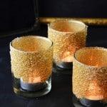 These DIY glitter votives are guaranteed to make your table setting sparkle this Christmas, New Year or whenever you have a gold-themed party!