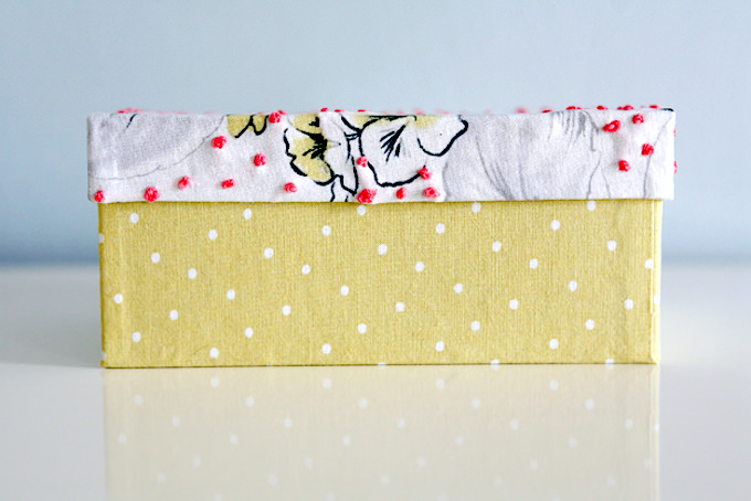 Box with Mod Podge and fabric