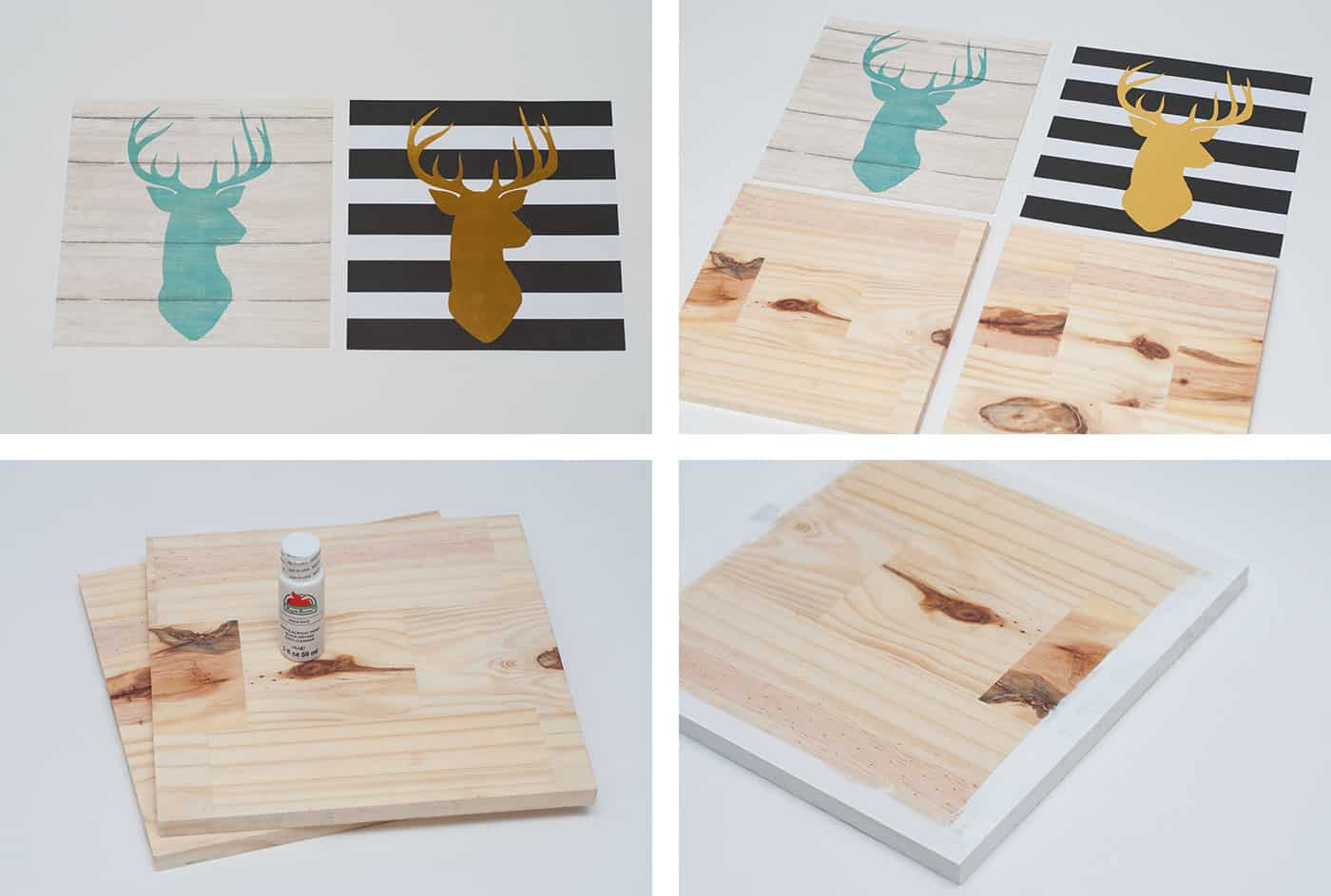 Two pieces of scrapbook paper and two square pieces of wood with white paint on the edges