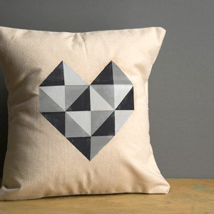 Geometric heart photo transfer pillow