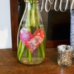 Simple tissue paper heart vase