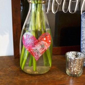 Simple tissue paper heart vase