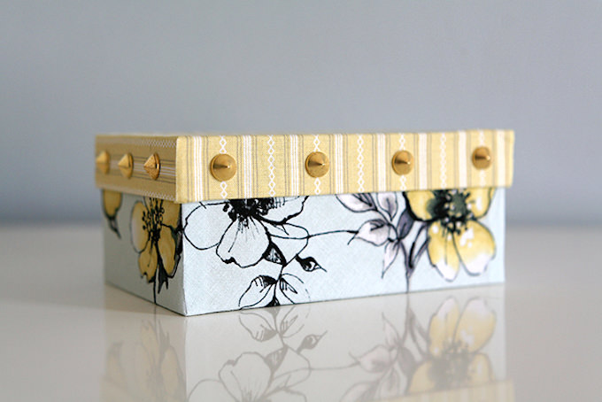 Mod Podge with fabric and gold studs