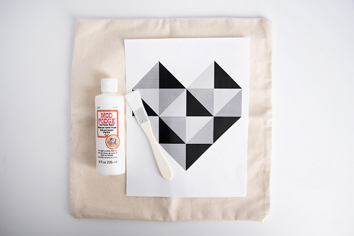 Pillow form, heart printable, and Mod Podge photo transfer medium