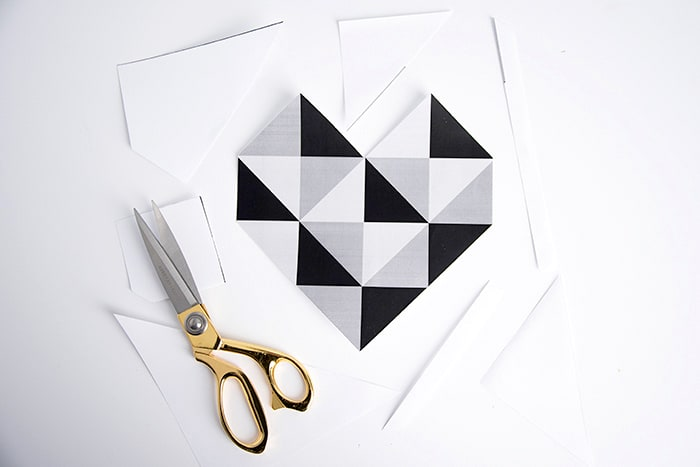 Cut out the geometric heart printable with scissors