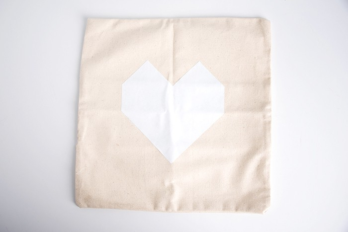 Heart shape on the front of a canvas pillow case