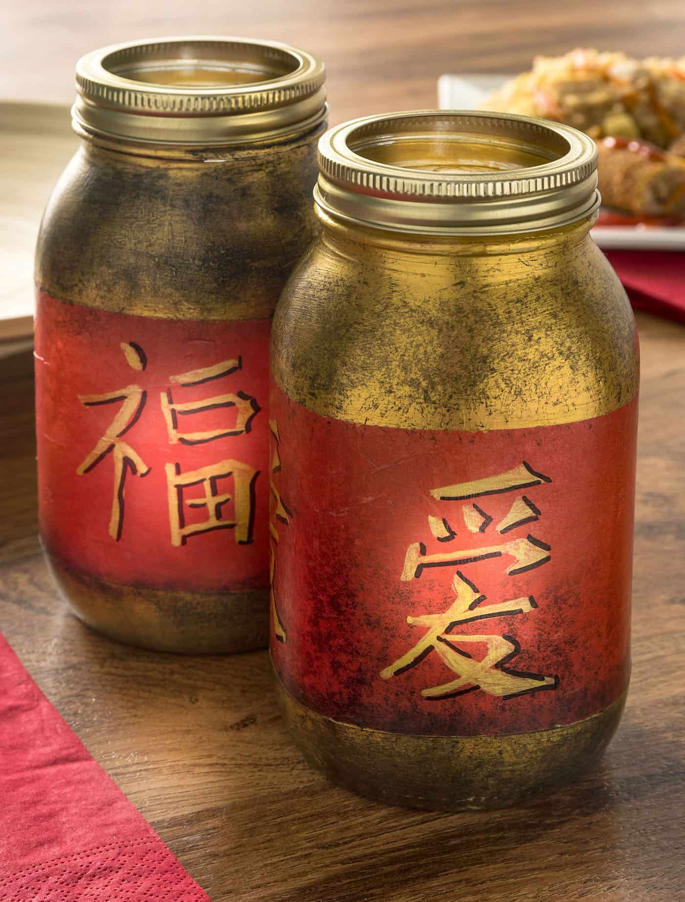 Chinese New Year Mason Jar Lanterns Mod Podge Rocks