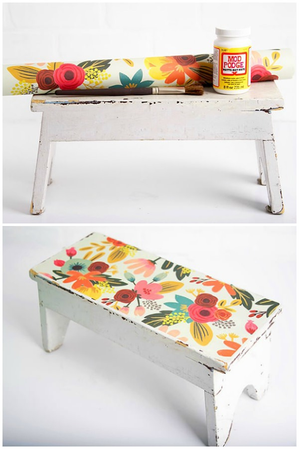 Have a wooden stool that needs a makeover? I revamped an antique wood stool find with pretty paper and Mod Podge. This is a fun DIY project that is really EASY to do! You can use the same method for other furniture such as chairs, coffee tables, and more.