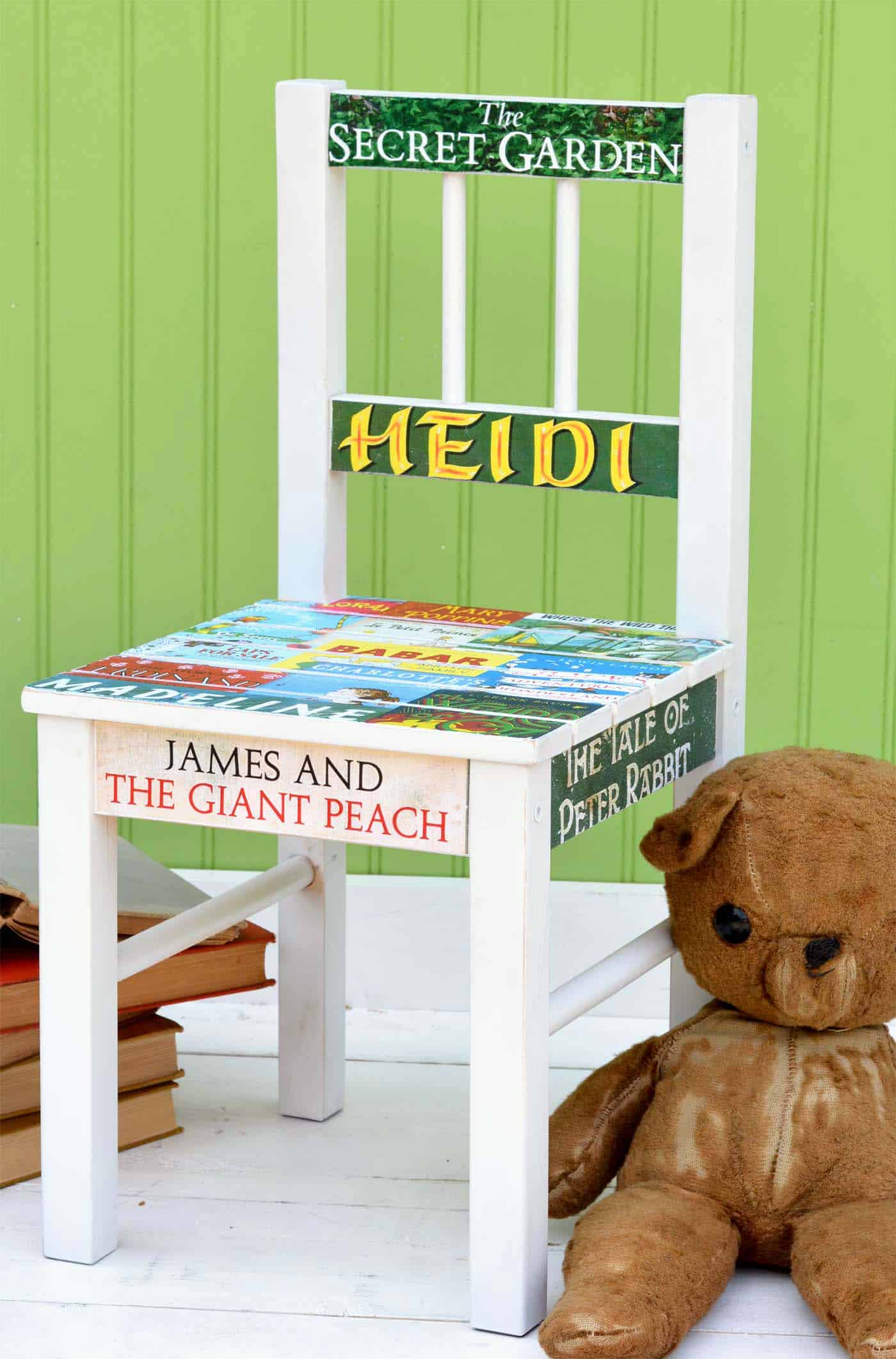 This DIY chair makeover is perfect for the child (or adult) that loves reading! Use images of book covers and decoupage medium to make this fun project.