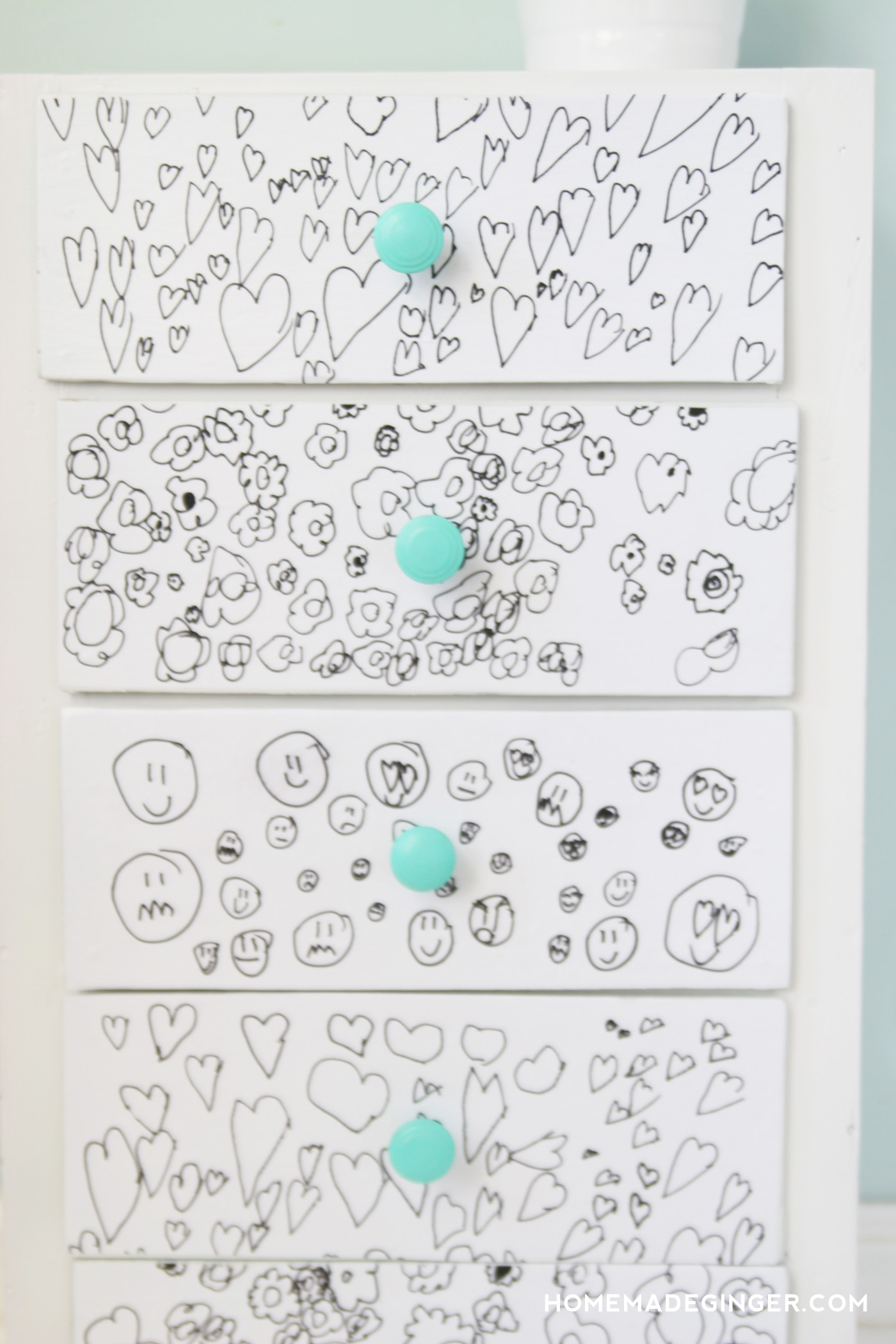 Use your kids' artwork to re-do a furniture piece in this fun dresser makeover. You'll love decoupaging as much as your children love the drawing!
