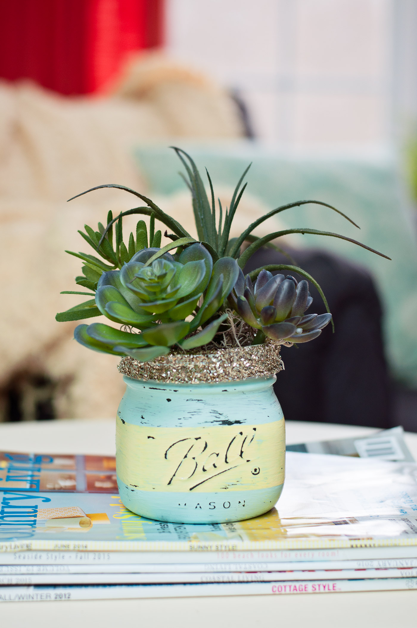 Spring craft diy mason jar succulents mod podge rocks for Crafts using mason jars