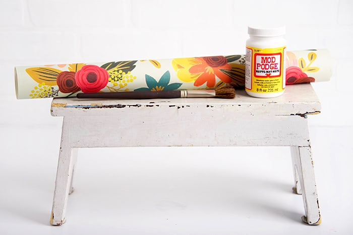 DIY wood stool makeover with Mod Podge supplies