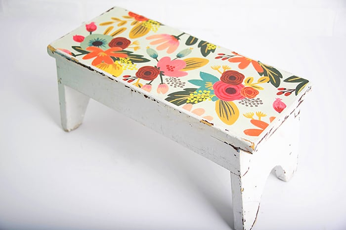 Decorate a Wooden Stool with Paper