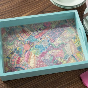Decorate a tray with adult coloring page...