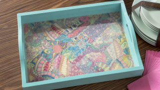 Decorate a Tray with Adult Coloring Pages