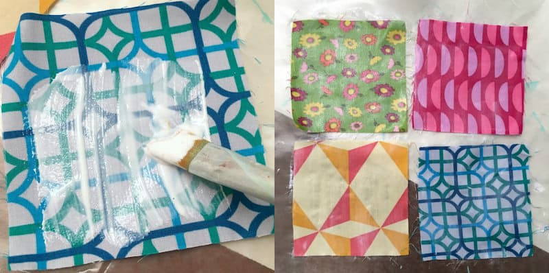 Painting fabric with Mod Podge to prepare to cut