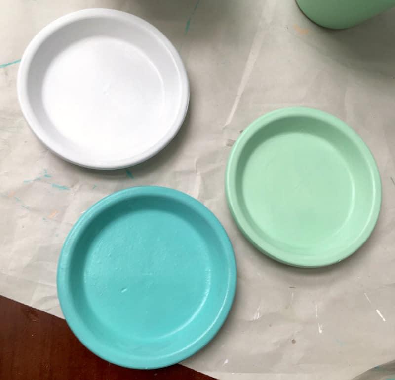 Flower pot decorating - painted plant saucers