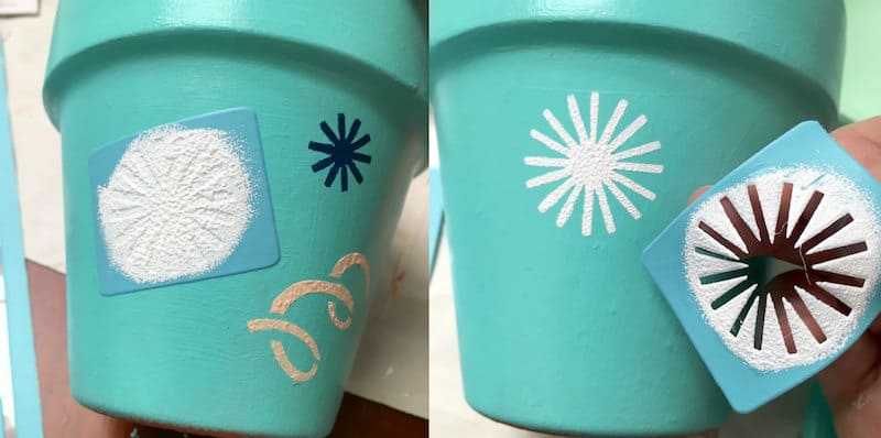 Flower pot decorating - removing the adhesive stencil