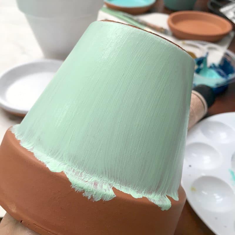 DIY Flower Pot Decoration- painting the pot base