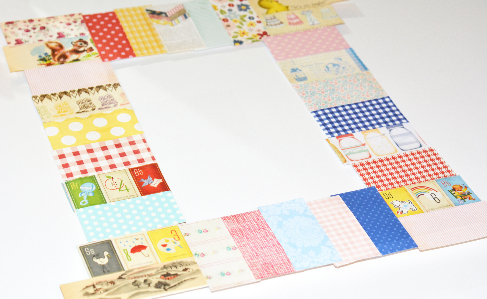 DIY picture mat made with Mod Podge and scrapbook paper